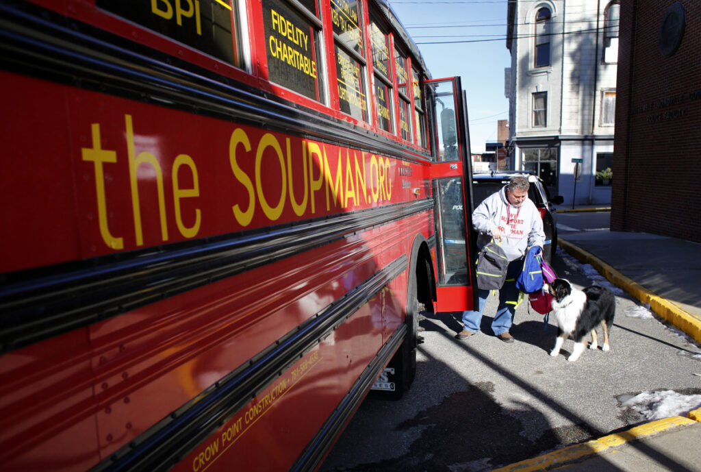 "Peter ""The Soupman"" Kelleher is on a weeklong tour of Maine to help the homeless, including stops in Biddeford, Portland, Newport, Augusta and Bangor. His bus is packed with more than 1,500 backpacks that contain winter clothes and toiletries for the homeless."