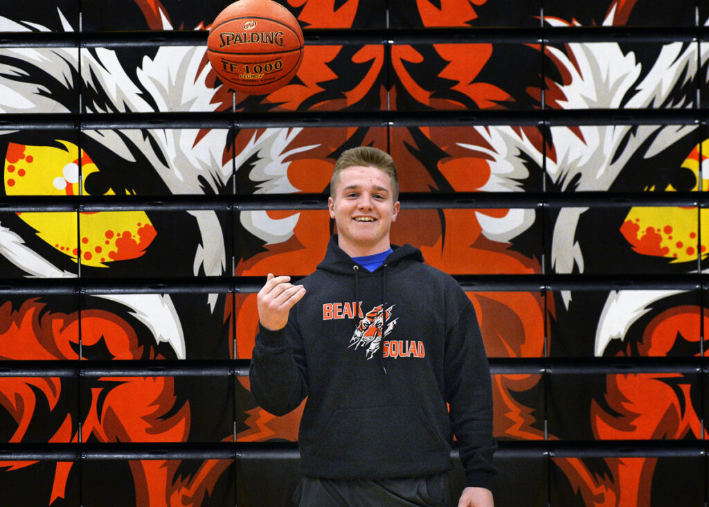 Kurtis Edgerton was unable to play basketball for Biddeford this season because of a shoulder injury suffered during football season. He has still been around the team this season, pitching in however he can, including doing an interview with every player on the team.