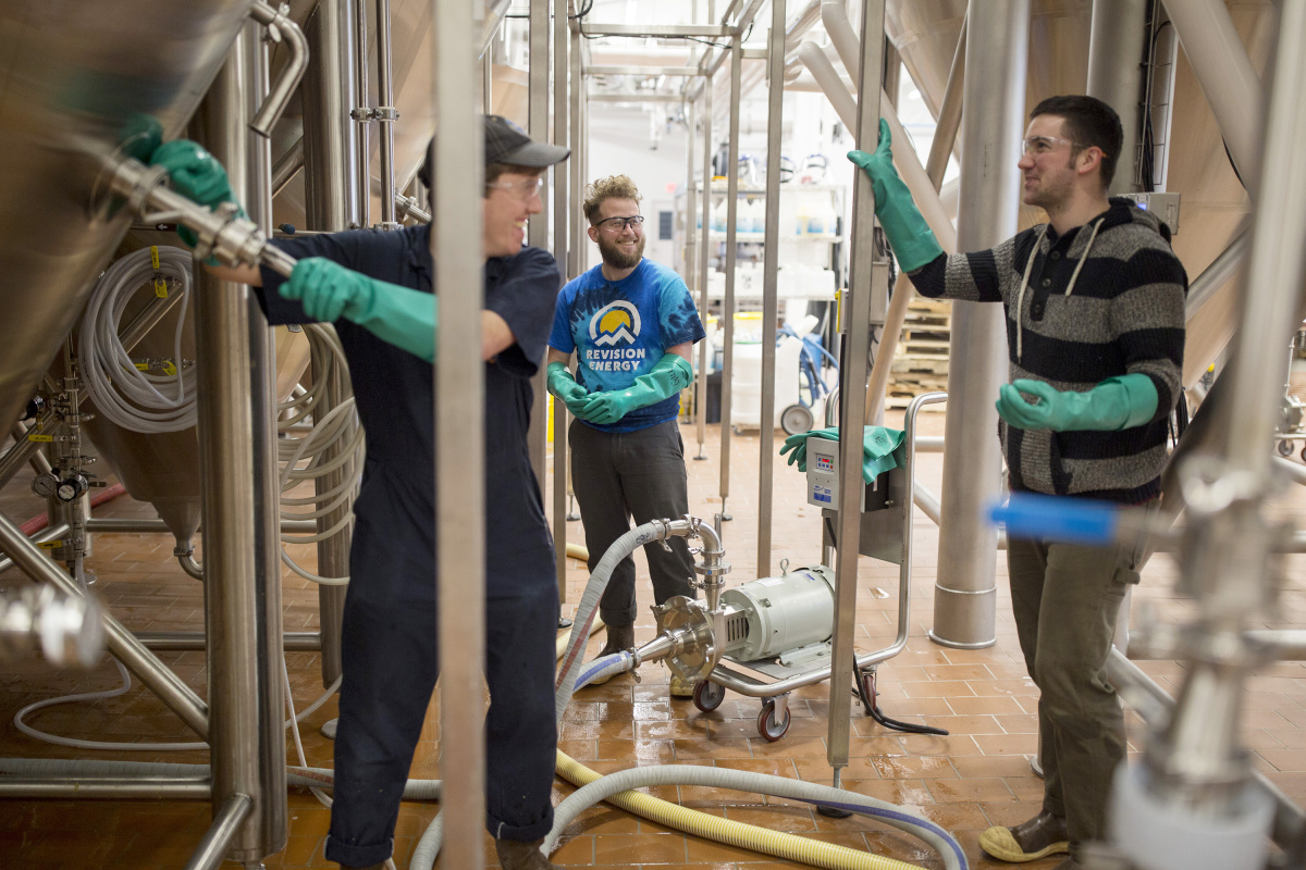 """Maine Beer Company employees, from left, Phil Neil, Seth Gill and David Love all have paid sick days as part of their benefits at the Freeport brewery. The company, which employs about 50 full-timers, believes paid sick leave is """"good for business,"""" said co-owner Dan Kleban, """"because workers are more productive if they're not coming to work sick."""""""