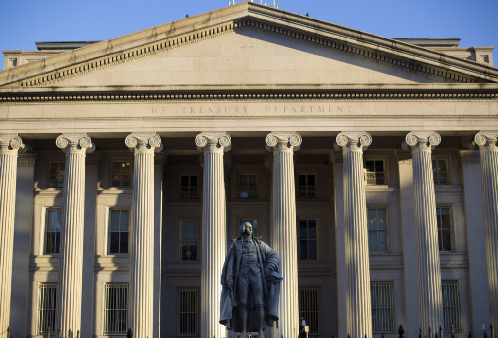 The U.S. Treasury Department building in Washington. The national debt has passed a new milestone, topping $22 trillion for the first time.