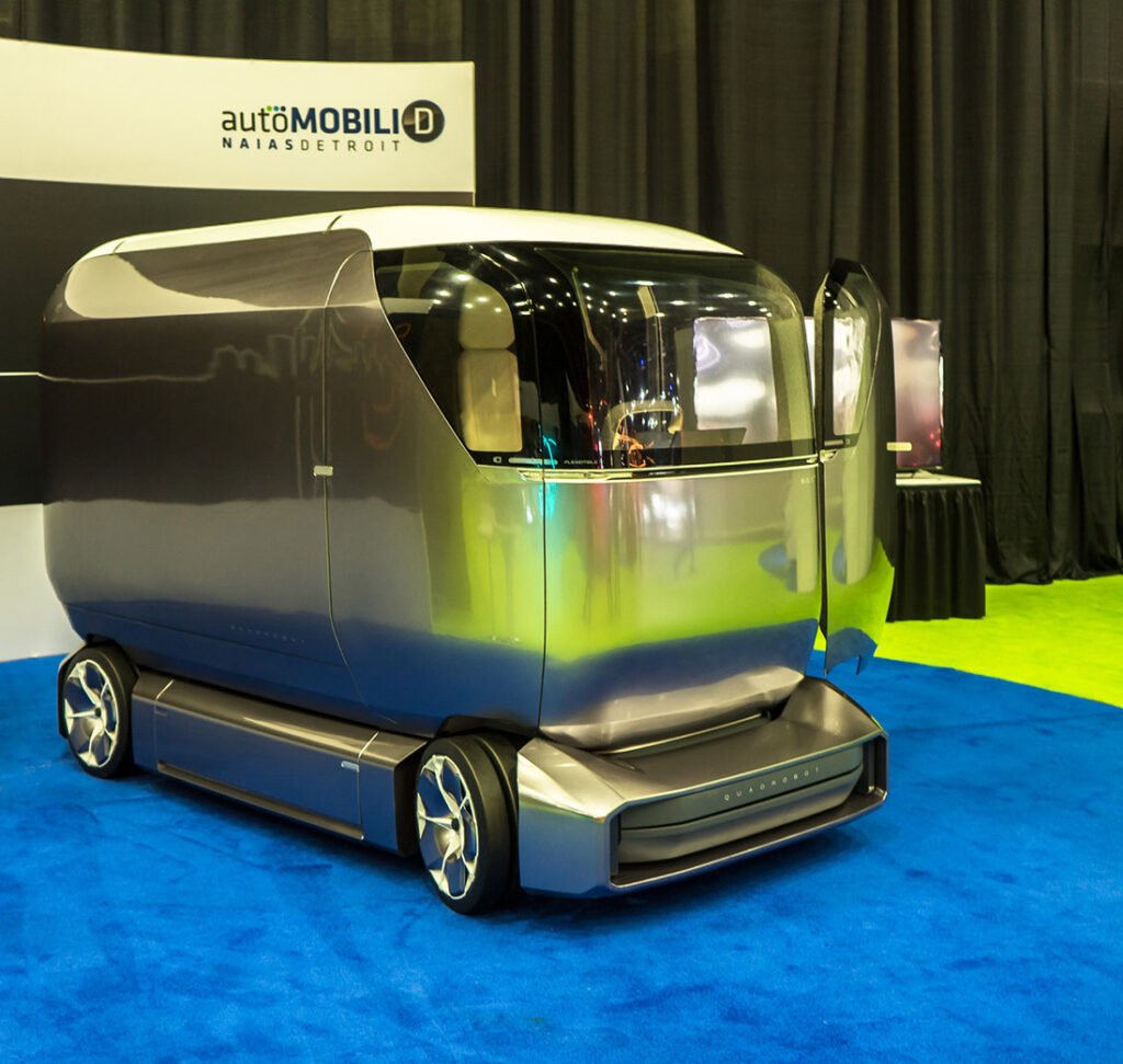A Quadrobot U1 (Urban 1) autonomous electric concept vehicle at the North American International Auto Show in Detroit, Michigan on Jan. 14.