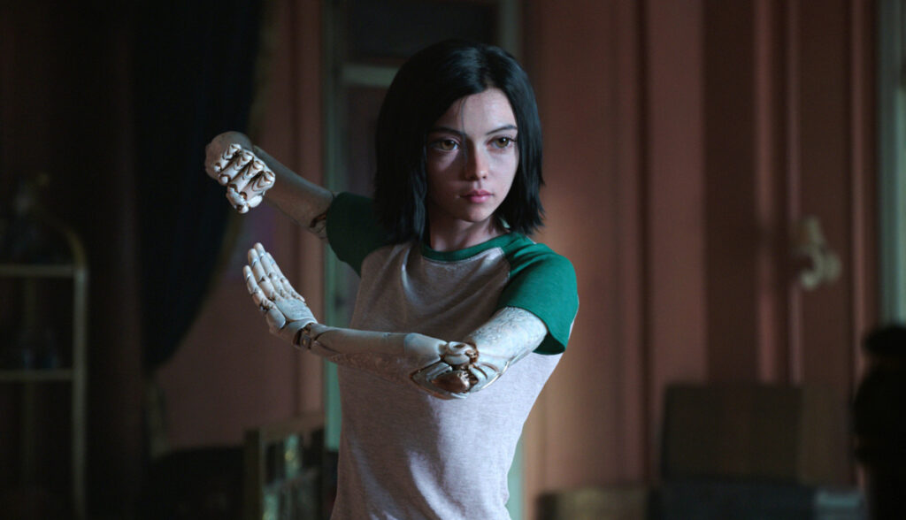 "The title character is voiced by Rosa Salazar in ""Alita: Battle Angel."""
