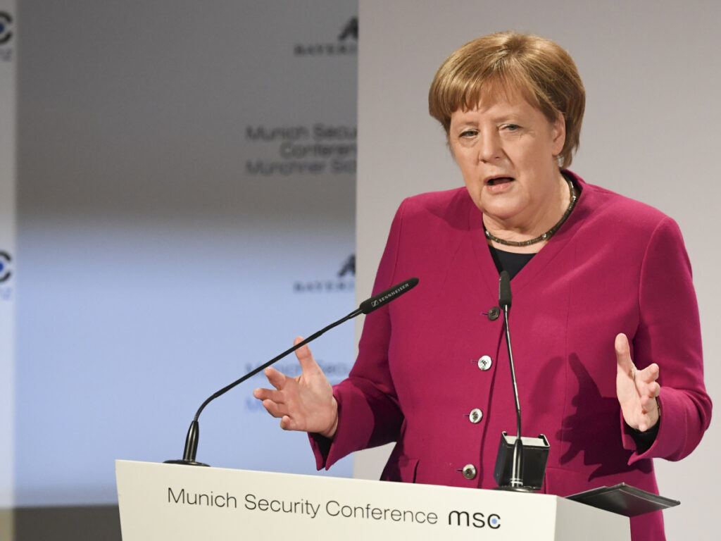 German Chancellor Angela Merkel delivers her speech during the Munich Security Conference in Munich on Saturday.