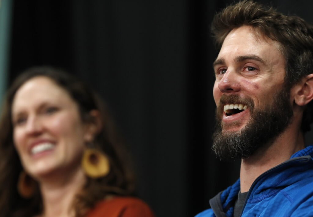 Travis Kauffman responds to questions during a news conference Feb. 14 in Fort Collins, Colo.