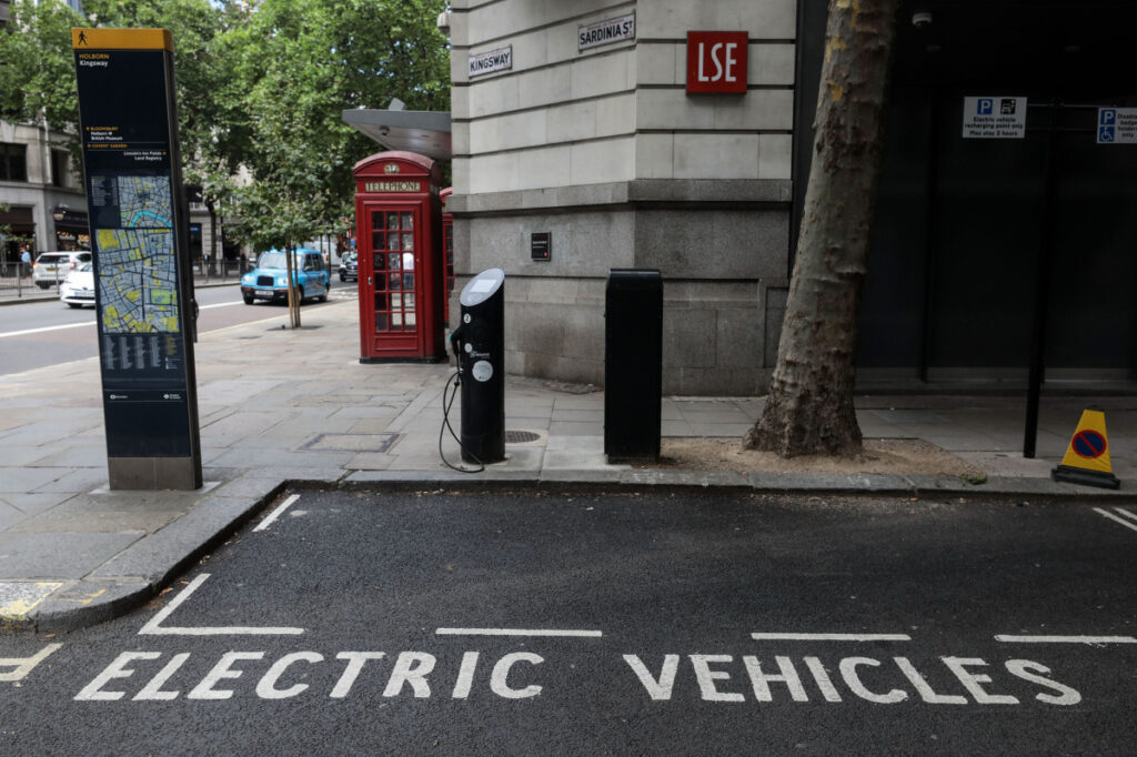 A parking area for electric vehicles in London. About half of existing public chargers are concentrated in China, by far the top electric vehicle market.