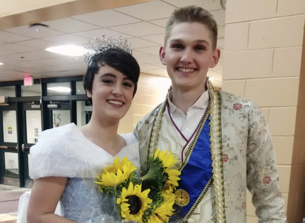 Simon Roussel, right, earned the lead in the Gorham High school play, Cinderella – played by Sierra Cummings, left. It's just part of a schedule that keeps the Gorham track and field athlete on the move.