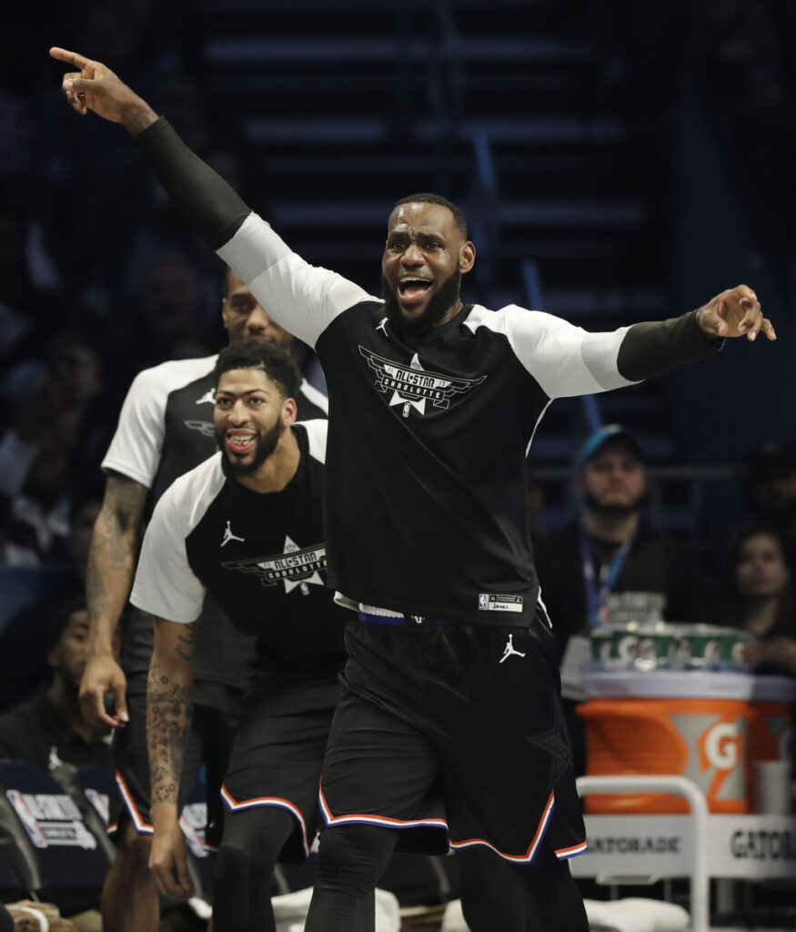 Team LeBron's LeBron James, of the Cleveland Cavaliers celebrates a basket against Team Giannis during the second half of the NBA All-Star on Sunday in Charlotte, N.C.