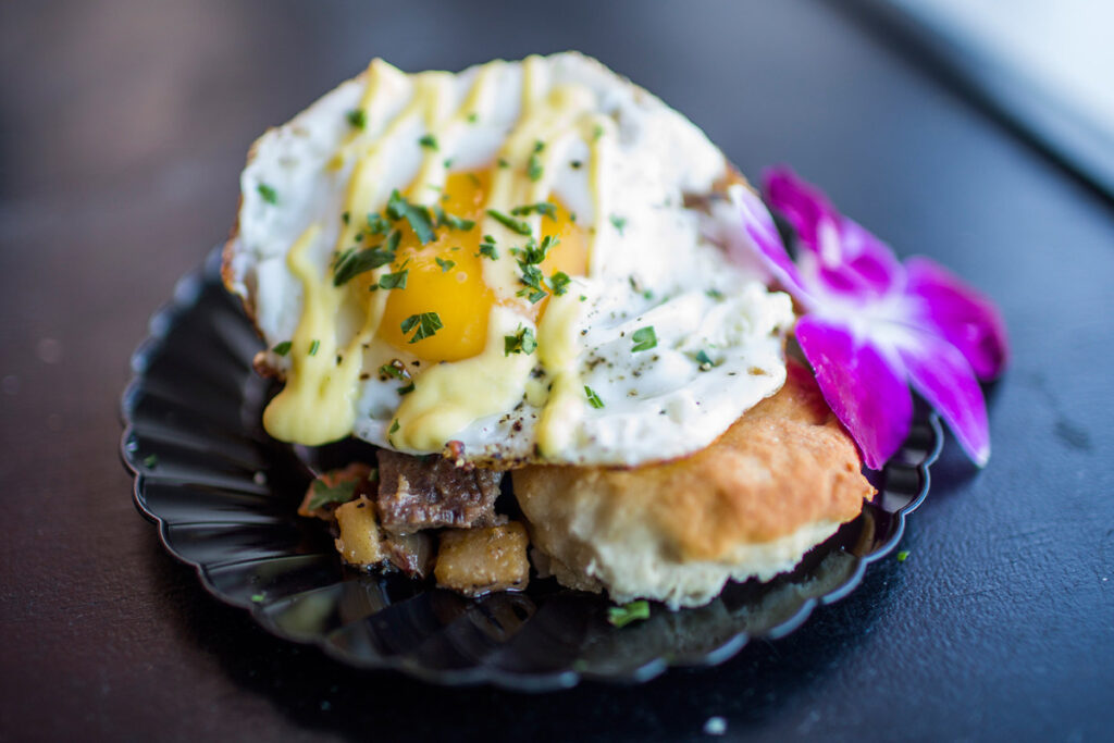 Chef Matt Tremblay of Sea Dog Brewing Co. presented this dish of prime rib hash with a fried egg and truffle hollandaise served on a biscuit. Maine Restaurant Week, which runs from March 1-12 this year, kicks off with the Incredible Breakfast Cook-Off.