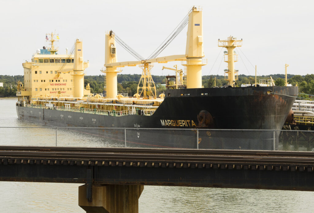 The M/V Marguerita sits in port at the Sprague Terminal in South Portland last September. The ship was the focus of a case of illegal dumping of oily water.