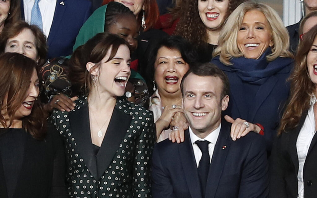 French President Emmanuel Macron and British actress Emma Watson, left, meet at the Elysee Palace in Paris on Tuesday. Macron said he wants gender equality to be a main focus of G-7.