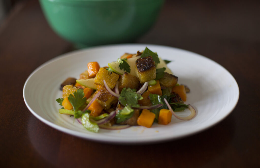 Rockin' day old bread croutons in bread and butternut panzanella with maple, lemon and sriracha dressing.