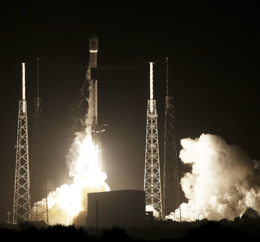 A SpaceX Falcon 9 rocket carrying Israel's Lunar Lander and an Indonesian communications satellite lifts off at Cape Canaveral, Fla., on Thursday night.