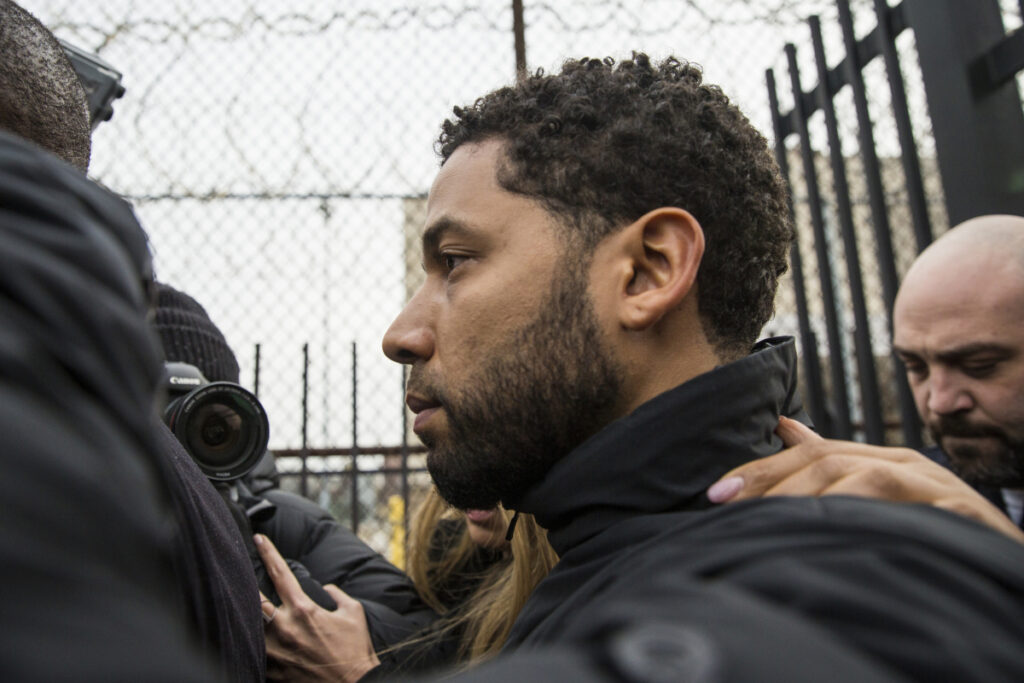 Actor Jussie Smollett leaves Cook County jail following his release on Thursday.
