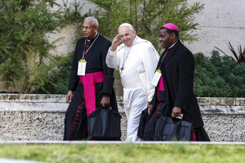 Pope Francis, center, makes his way to the second day of a Vatican's conference on dealing with sex abuse by priests, at the Vatican, Friday, Feb. 22, 2019. Pope Francis has issued 21 proposals to stem the clergy sex abuse around the world, calling for specific protocols to handle accusations against bishops and for lay experts to be involved in abuse investigations. (Giuseppe Lami/Pool Photo via AP)
