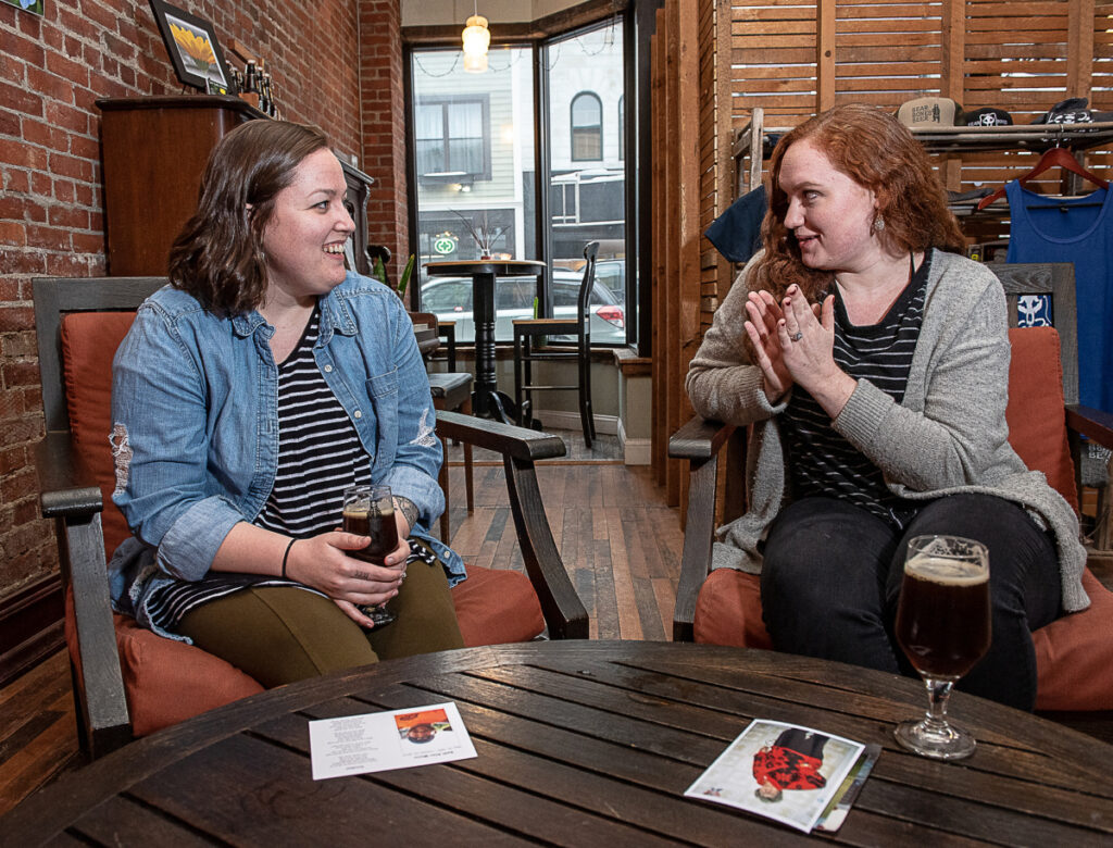 Shae Long and Taylor Swain get together for a planning meeting at Bear Bones Beer in Lewiston, where their first Death Talk L-A event will be held from 6 to 8 p.m. Monday, March 4.