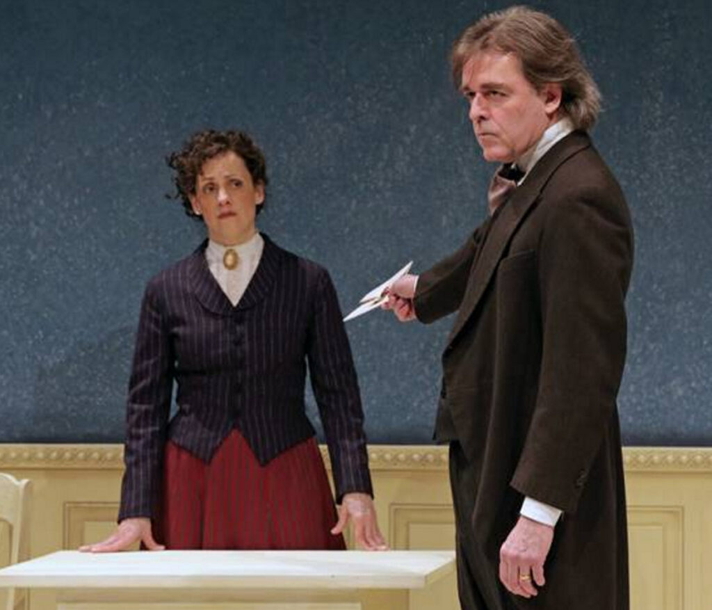 "Abigail Killeen as Nora and James Hoban as Torvold IN ""A Dolls House, Part 2."""