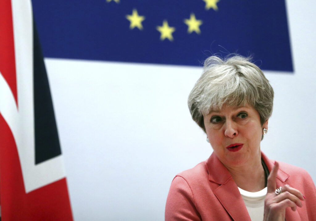British Prime Minister Theresa May speaks during a media conference at the conclusion of an EU-Arab League summit Monday in Sharm El Sheikh, Egypt. May remains convinced that March 29 remains a realistic Brexit date, despite the EU urging Britain to delay its departure from the bloc to avoid a chaotic rupture.