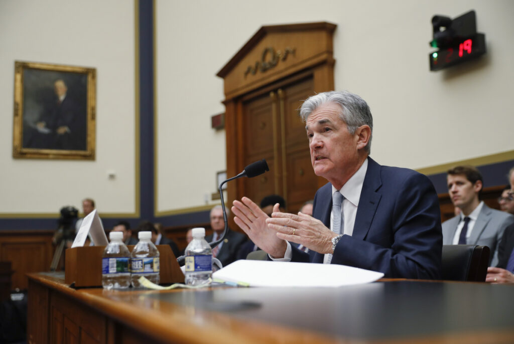 Federal Reserve Board Chairman Jerome Powell speaks before the House Committee on Financial Services hearing Wednesday on Capitol Hill in Washington.