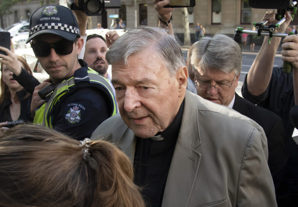 Cardinal George Pell arrives at the County Court in Melbourne, Australia, on Wednesday.