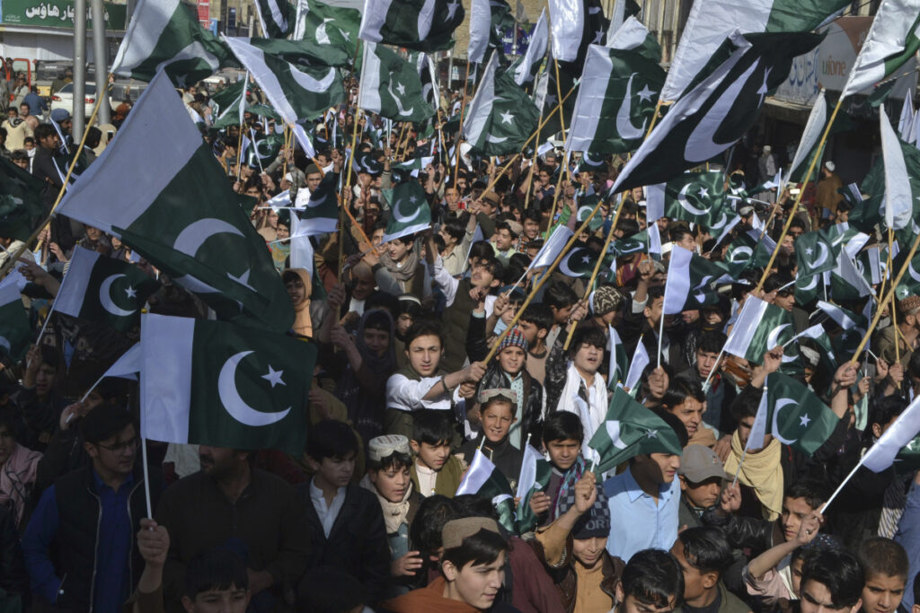 Pakistani rally against India in Quetta, Pakistan on  Thursda. India and Pakistan exchanged gunfire through the night into Thursday morning in the disputed Himalayan region of Kashmir, a day after Islamabad said it shot down two Indian warplanes and captured a pilot.