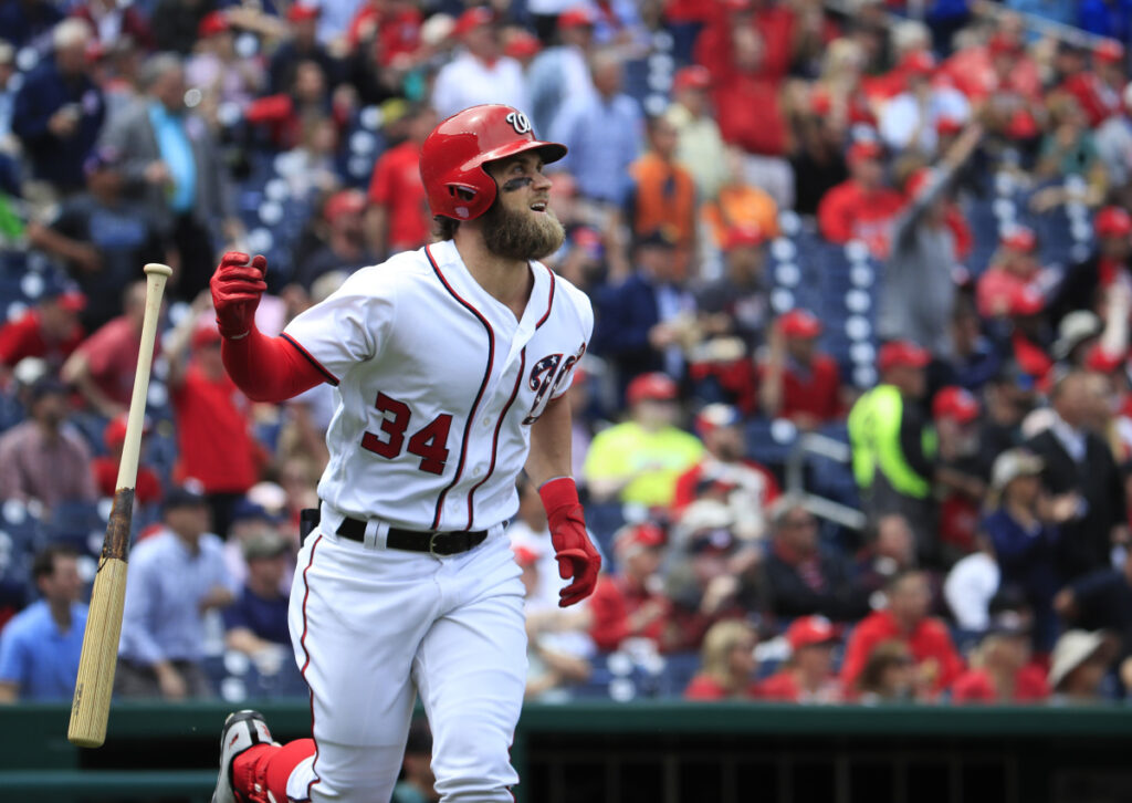 Bryce Harper, formerly of the Washington Nationals, has agreed to a $330 million, 13-year contract with the Philadelphia Phillies. (AP Photo/Manuel Balce Ceneta)