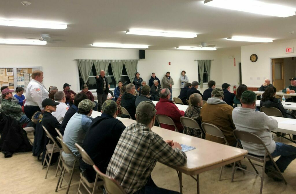 Thorndike selectmen meet Wednesday night to discuss concerns that Waldo County officials have with the town's fire department. All but one of the department's firefighters, who were seated at the tables, got up and resigned in protest.