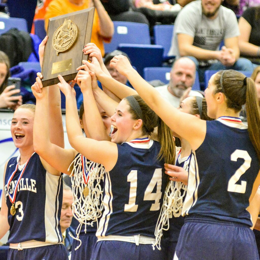 Greenville celebates after beating Rangeley 41-20 in the Class D South girls' basketball championship game Saturday at the Augusta Civic Center.