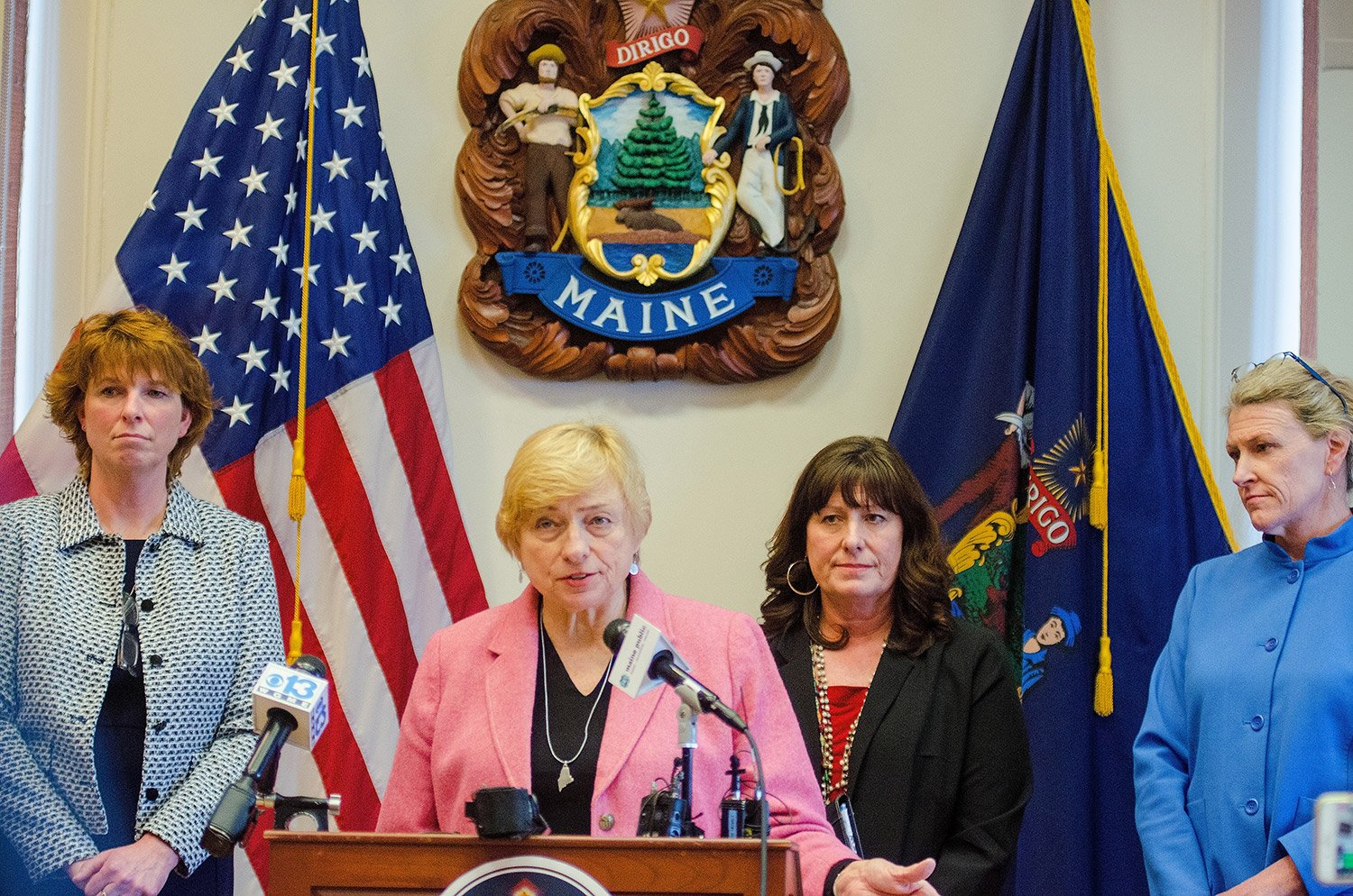From left, Administrative and Financial Services Commissioner Kirsten Figueroa, Gov. Janet Mills, Education Commissioner Pender Makin and Health and Human Services Commissioner Jeanne Lambrew announce the proposed two-year state budget Friday at the State House.