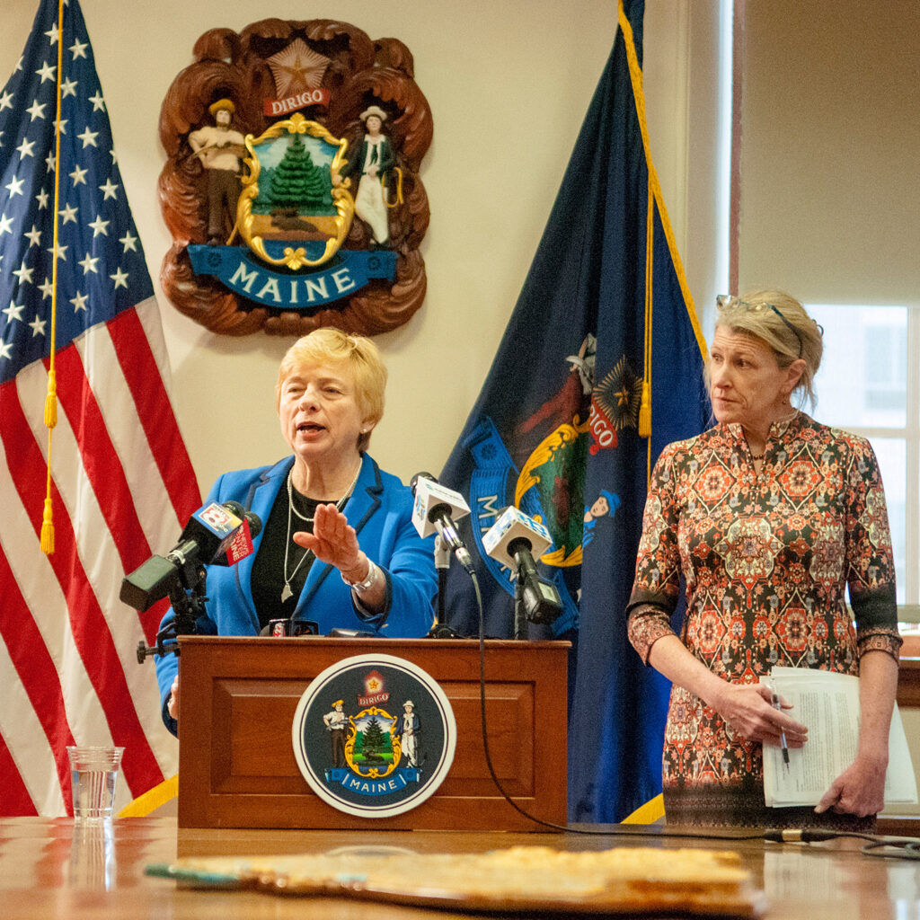 Gov. Janet Mills and Health and Human Services Commissioner Jeanne Lanbrew hold a news conference Wednesday about the state's new psychiatric hospital in Bangor.