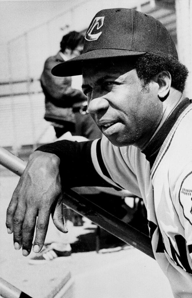 Frank Robinson watches during spring training Tucson, Ariz., in 1975, when he became the first black manager in Major League Baseball.