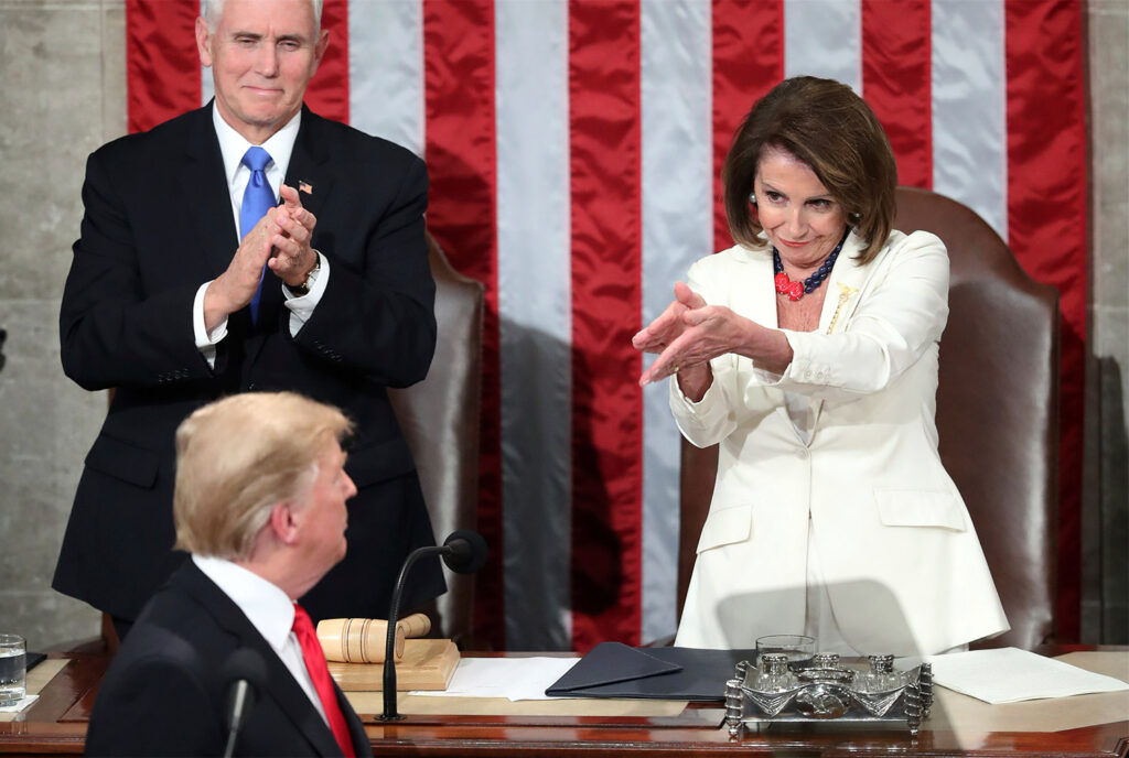 President Trump turns to House Speaker Nancy Pelosi as he delivers his State of the Union address Tuesday night on Capitol Hill.
