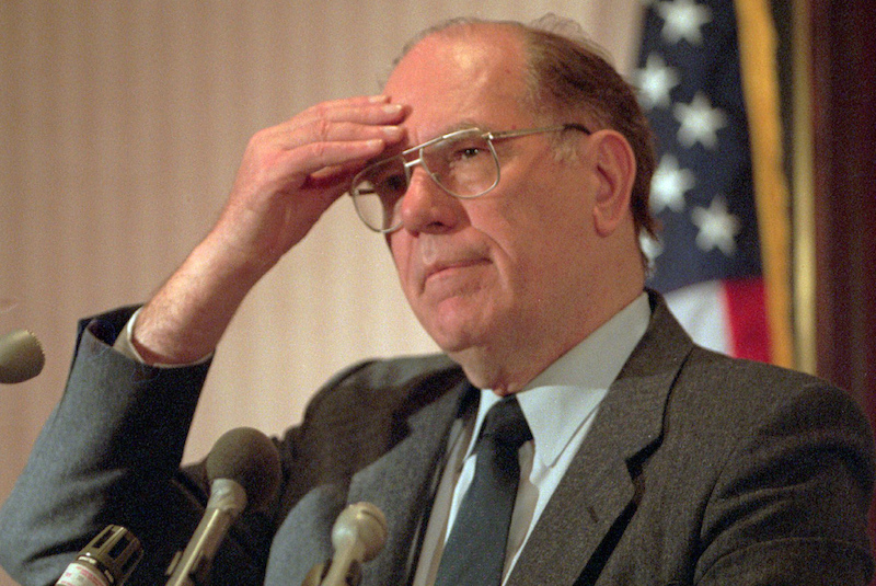 Lyndon LaRouche at a news conference in Arlington, Va. in 1994.