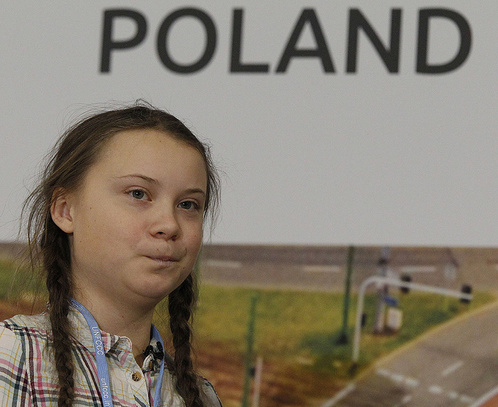 Greta Thunberg, 15, who has inspired students around the world to campaign against global warming, attends a U.N. climate conference in Katowice, Poland, on Dec. 4.