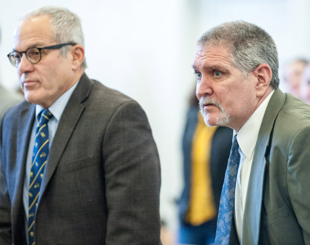"James E. ""Ted"" Sweeney, right, and his attorney, Walter Hanstein, stand as Justice William Stokes enters Franklin County Superior Court in Farmington on Friday morning, when Sweeney was found guilty of murder."