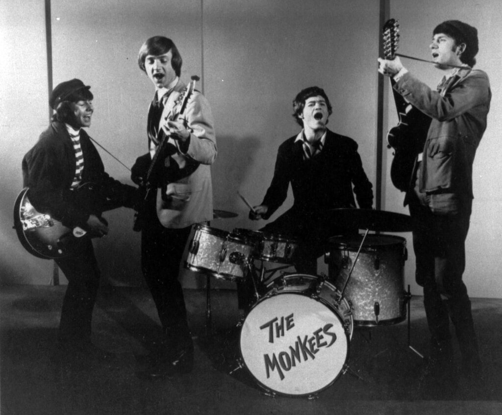 The Monkees, in 1966, featured Davy Jones, Peter Tork, Micky Dolenz and Mike Nesmith. The made-for-TV pop band spawned a frenzy of merchandising, record sales and world tours that became known as Monkeemania.