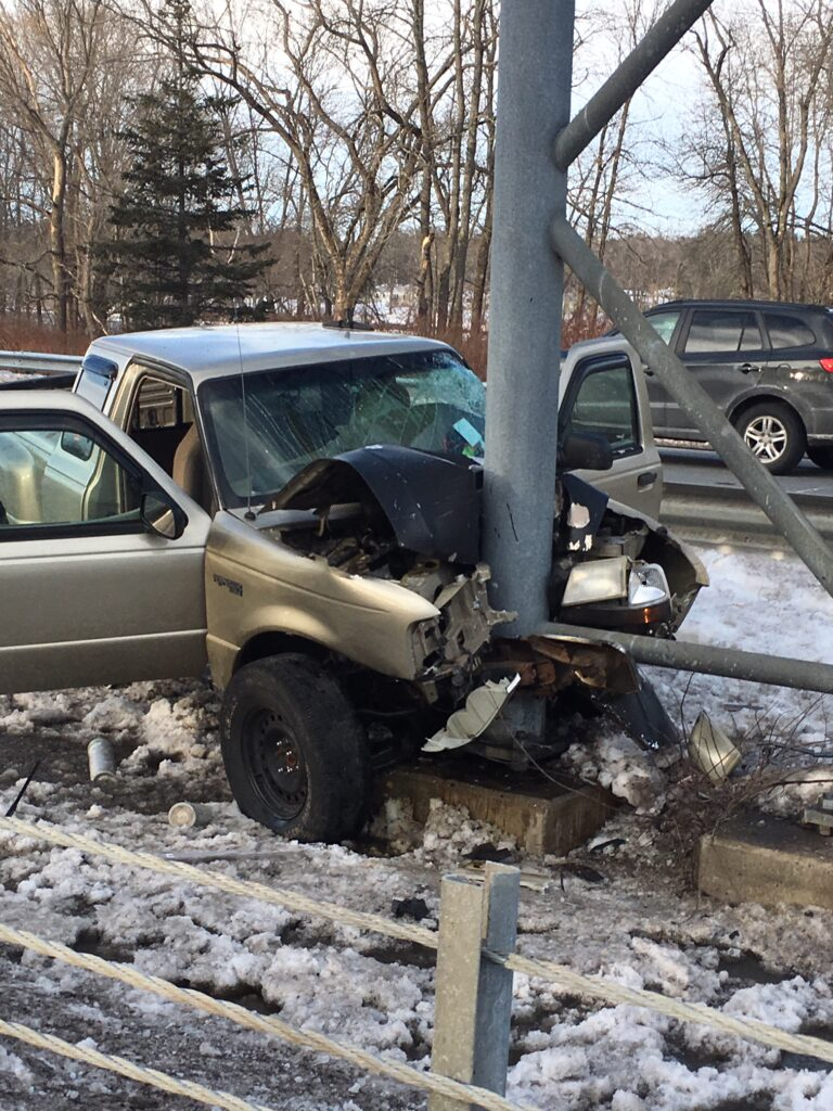 Three people were injured when this pickup truck struck a pole on Route 1 in Brunswick on Sunday.