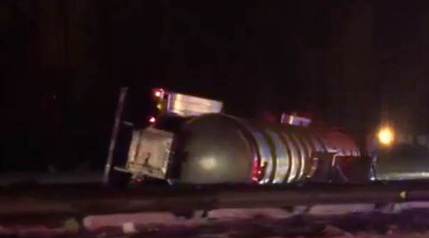 This tanker rolled over on the Maine Turnpike at mile 50 in Portland on Friday night.