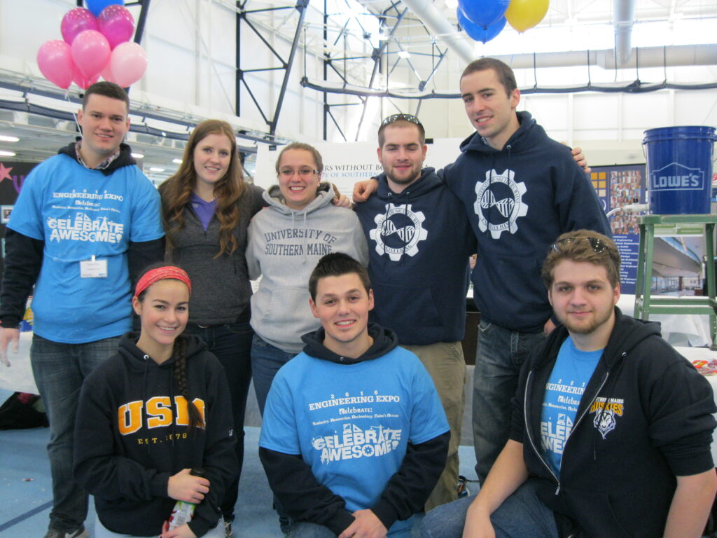 At the 2017 Engineers Week Expo, the USM Engineers Without Borders group presentation highlighted its trip to Guatemala to install solar hot water panels for an orphanage. Clockwise from upper left are Tony Finn, Olivia Barragree, Michaela Demers, Hunter Wing, Luke Johnas, Jacob Archer, Austin Verrill and Aimee Laplant