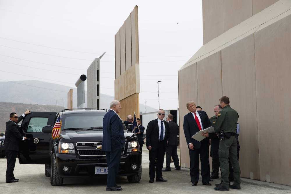 Donald Trump reviews border wall prototypes in San Diego in 2018.