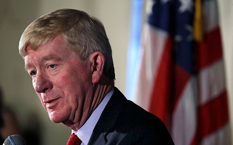 Former Massachusetts Gov. William Weld addresses a gathering in Bedford, N.H. on Friday morning. Weld announced he's creating a presidential exploratory committee for a run in the 2020 election.
