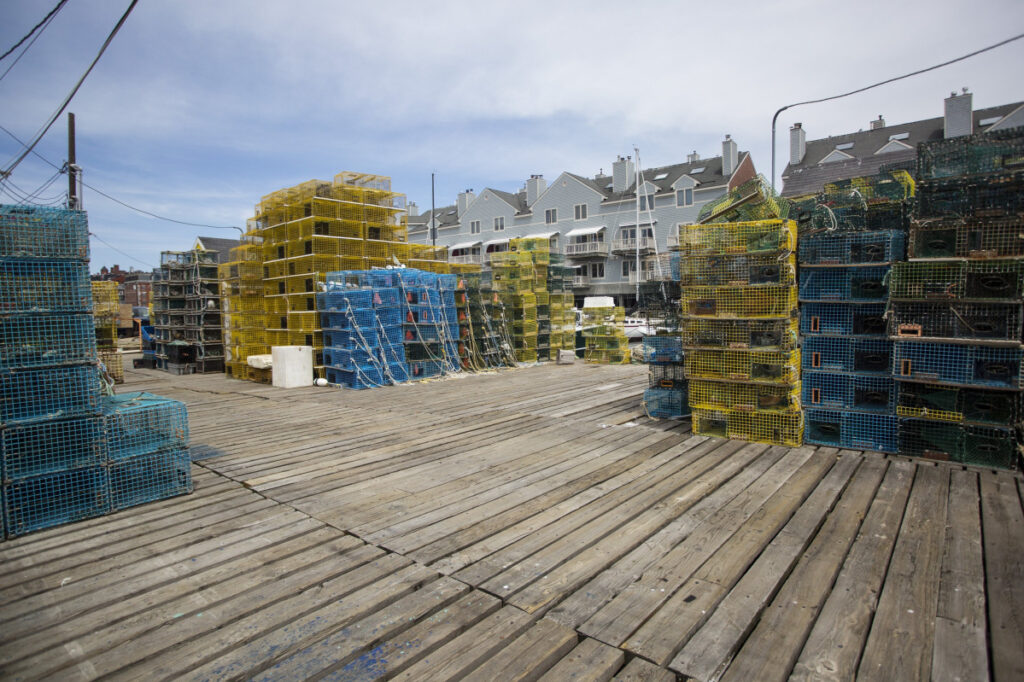 Lobster traps are piled high on Widgery Wharf in Portland. Last year was a better year for Maine lobster landings, but still not a record.