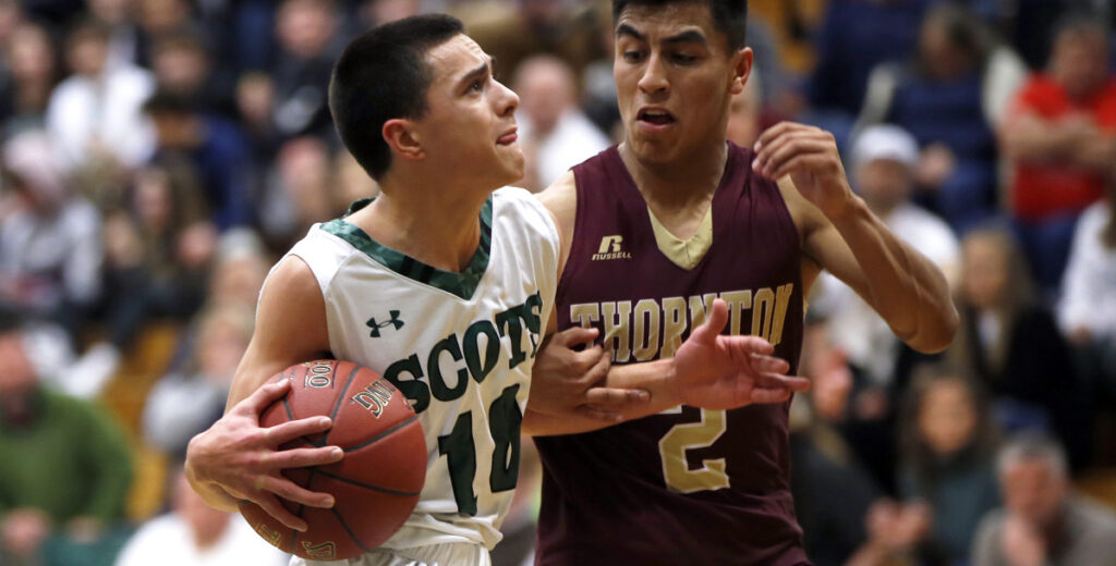Jacob Humphrey of Bonny Eagle, left, a sophomore guard, averages more than 12 points but also makes his presence known on defense and rebounding.
