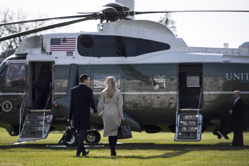 Ivanka Trump and Jared Kushner walk to Marine One on the South Lawn of the White House on Nov. 29. President Trump early last year directed his then-chief of staff, John Kelly, to give Kushner, the president's son-in-law, a top-secret security clearance – a move that made Kelly so uncomfortable that he documented the request in writing, according to current and former administration officials.