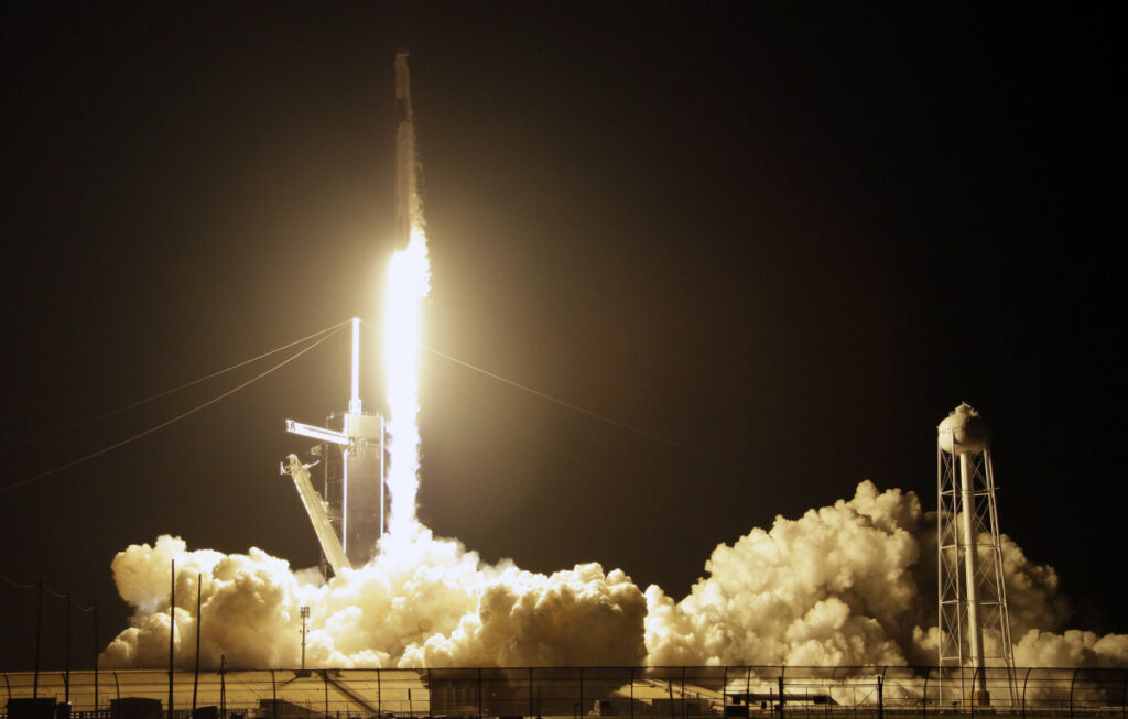 A SpaceX Falcon 9 rocket with a demo Crew Dragon spacecraft lifts off  on an uncrewed test flight to the International Space Station at the Kennedy Space Center in Cape Canaveral, Fla., on Saturday.