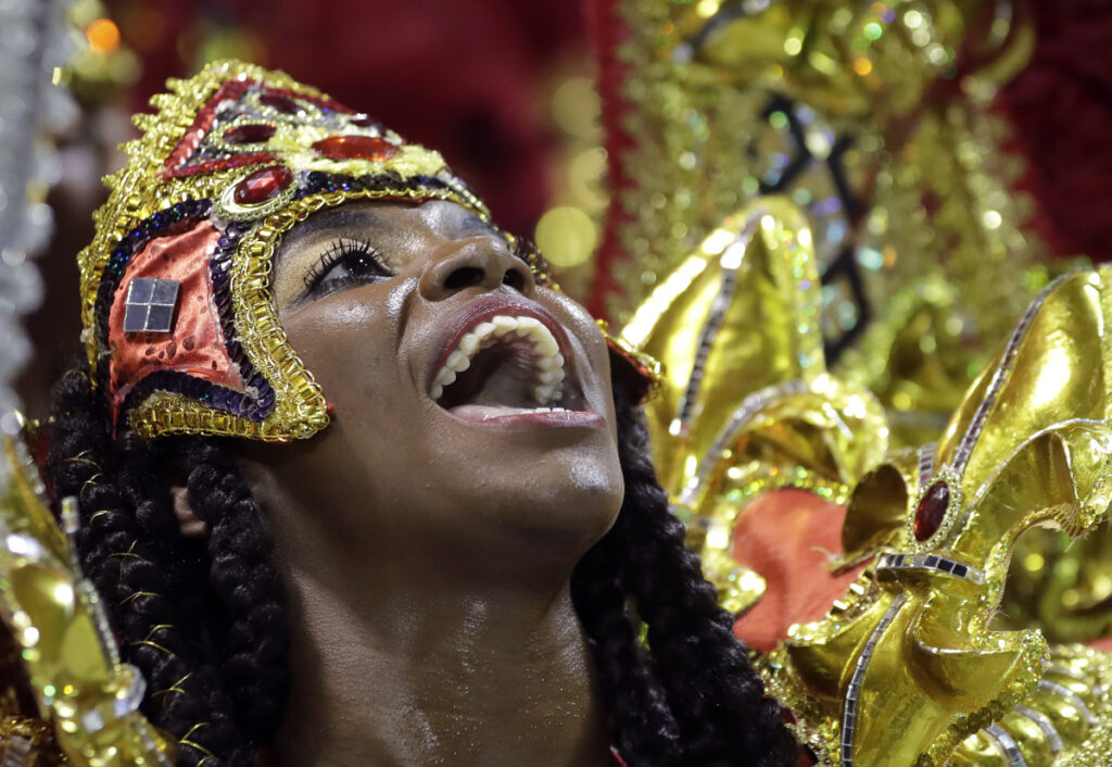 A dancer from the Academicos do Tatuape samba school performs during a carnival parade in Sao Paulo, Brazil, on Saturday.