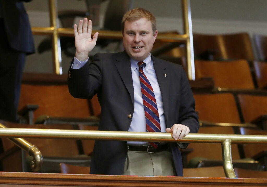 Rep. Aaron Frey, D-Bangor, acknowledges applause at the State House in Augusta early in December when he was elected by the Legislature to become Maine's next attorney general. In Maine, lawmakers choose the state's constitutional officers.