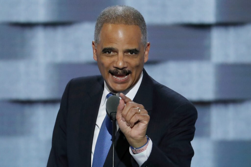 Former Attorney General Eric Holder speaks during the second day of the 2016 Democratic National Convention in Philadelphia.