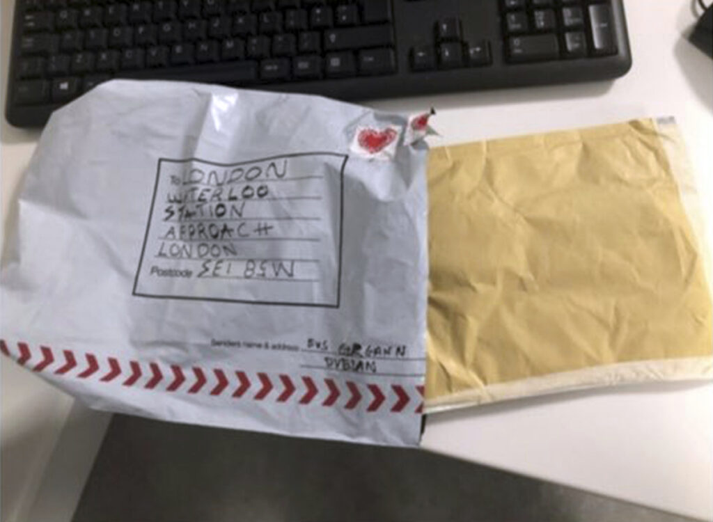 One of the suspect packages that turned up on Tuesday.