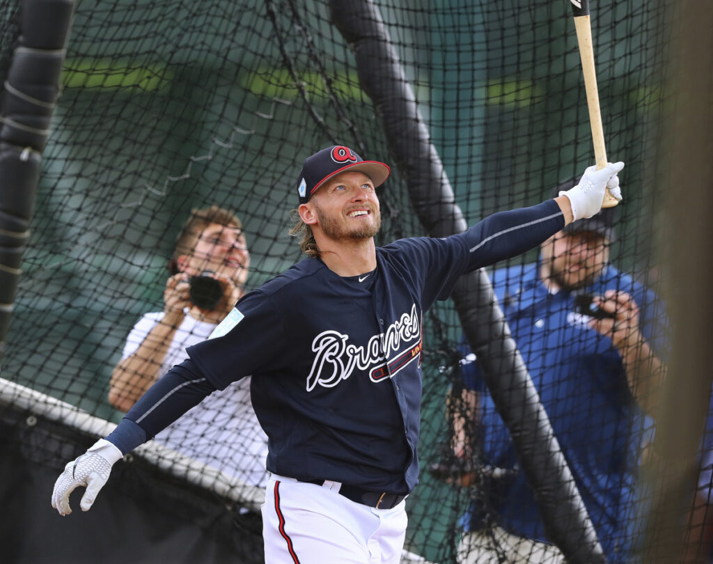 Josh Donaldson, now with the Atlanta Braves on a one-year deal, will play for the first time this spring Friday night in an exhibition against the Phillies.