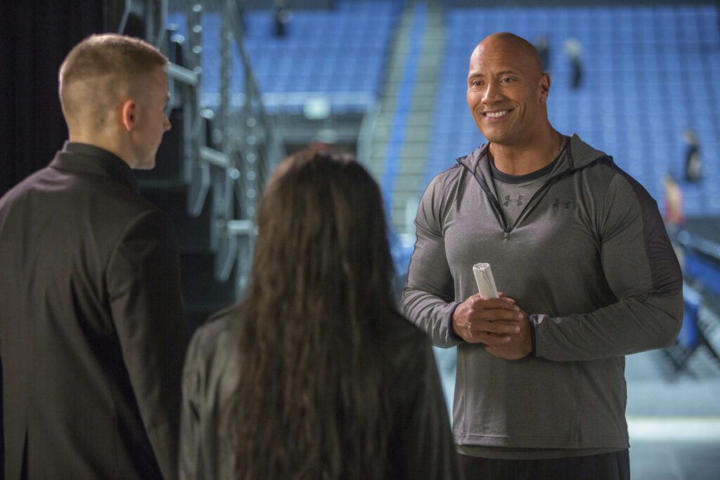 "Dwayne Johnson in a scene from ""Fighting with My Family."""